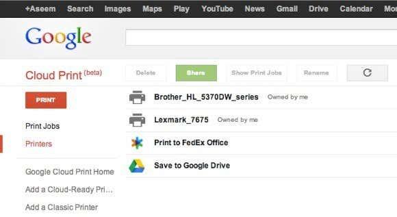 Printers google cloud print