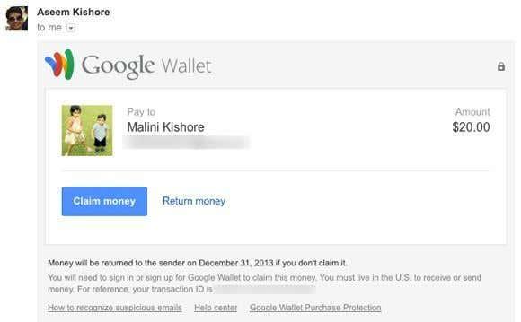 recieve money wallet