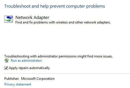 troubleshoot network adapter