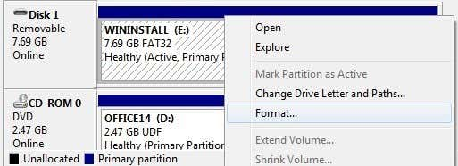 disk management format