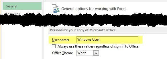office user name