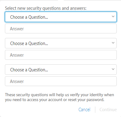 enter security questions