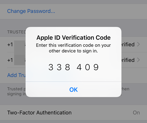 verification code ios