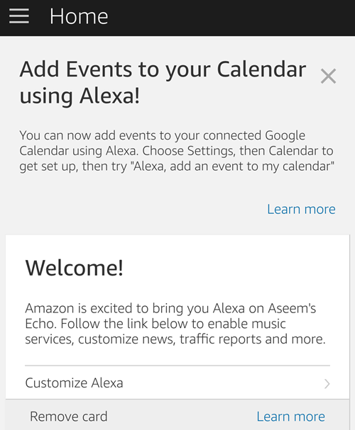 alexa app homescreen