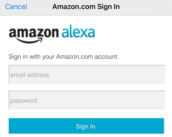 alexa app signin