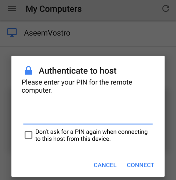 authenticate to host
