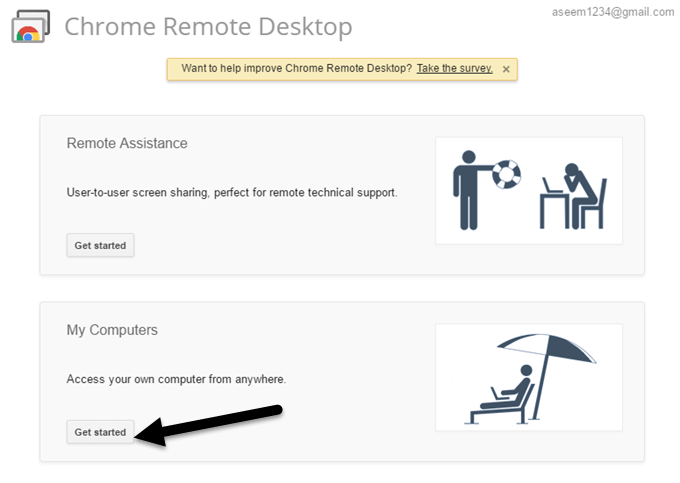 chrome remote desktop get started