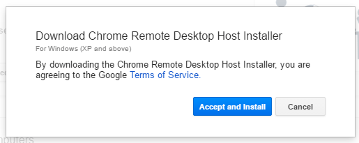 chrome remote host installer