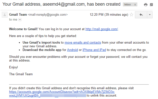gmail address created