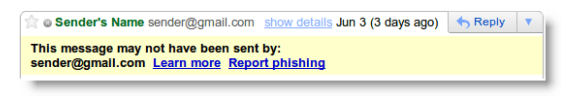 gmail warning message