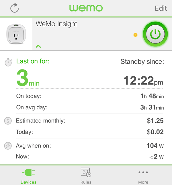 wemo insight stats