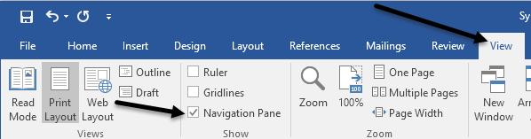 navigation pane word
