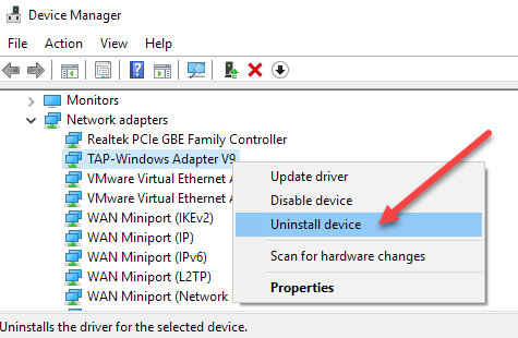 Unable to Delete Network Adapter in Windows 10?