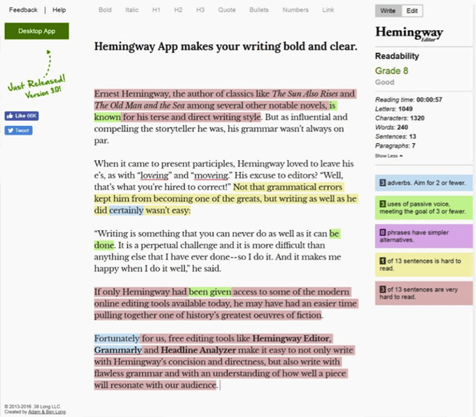 How to Be the Next Hemingway: Three Editing Tools for Writers